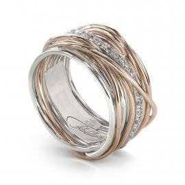 Philovita Ring Classic 13 Wires in Pink Gold 9Kt Silver 925 and White Diamonds AN13ARBT Measure 17